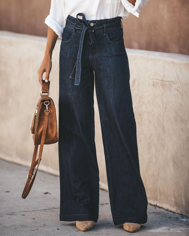 Women Fashion Denim Tie Waist Flare Jeans Boyfriend Jeans Ladies High Waist Bell Bottom Jeans Pants Autumn Loose Wide Leg Jeans