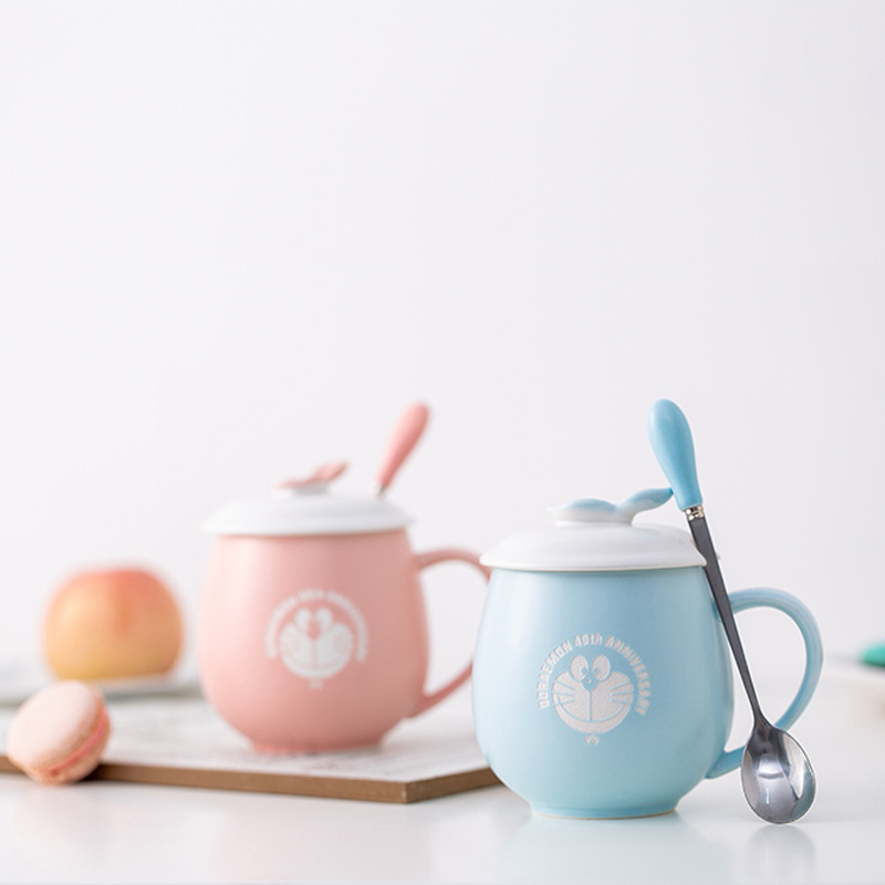 New Cute Robot cat Ceramics Coffee Mug With Spoon Creative Hand Painted Drinkware Milk Tea Cups Novelty Gifts