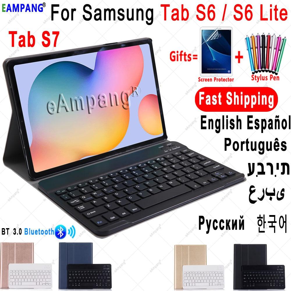 Чехол для Samsung Galaxy Tab S6 Lite 10,4, чехол для клавиатуры Tab S6 10,5, S7 11, чехол с русской, испанской, английской, корейской Bluetooth клавиатурой-0