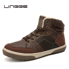LINGGE Mens Boots Fashion Winter High Top Men Snow Causal Ankle Leather Soft Sneakers 39-45