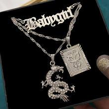 Flatfoosie – collier à longues chaînes pour hommes et femmes, pendentif en cristal, Dragon, papillon, pistolet, lettre, bijoux