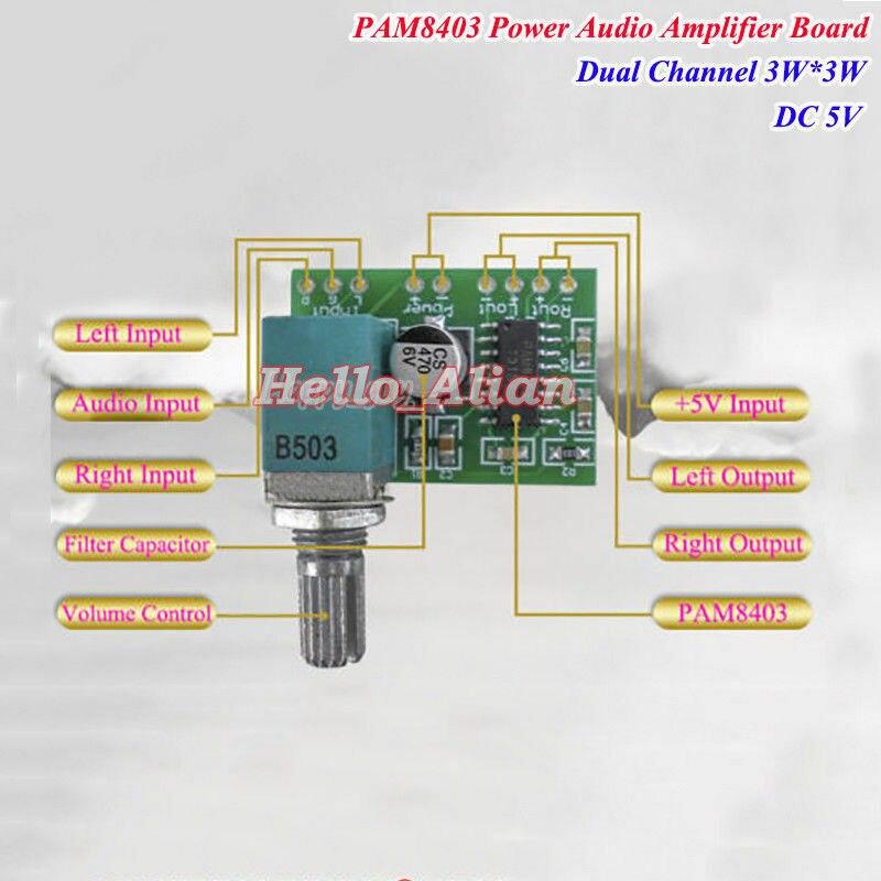DC 5V PAM8403 3W+3W Dual Channel Digital Audio Amplifier Board Mini Amp Board Volume USB Power
