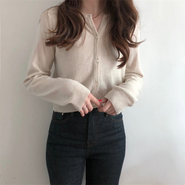Ailegogo Autumn Winter Women Knitted Sweater Cardigans Single Breated Short Ladies Crop Tops SW7169 5
