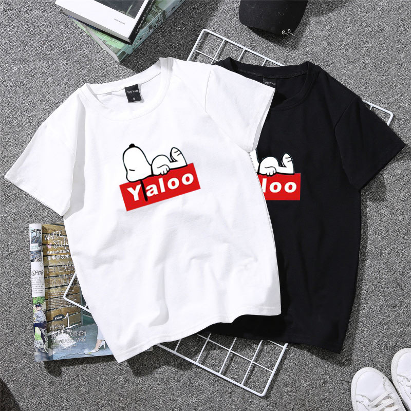 Qooth Women 2020 Summer T Shirt Korean-style INS College Style Tops Attire Couple Clothes Snoopy Cartoon Trend Shirts Qh2248