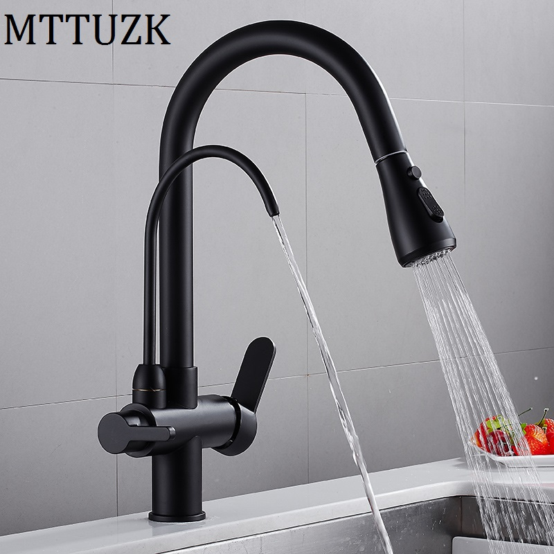 Brass Black Kitchen 3 Ways Purification Faucet Drinking Tap Pure Water Pull Down Faucet Dual Handle Hot Cold Mixer Taps Crane