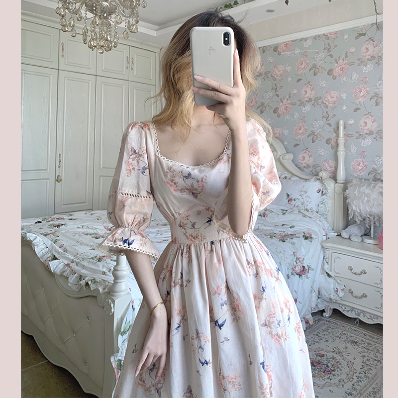 Vintage French Style Women Dresses 2020 New Half Sleeve Square Colar Dress Retro Floral Print Woman Summer Dress Femme Vestidos