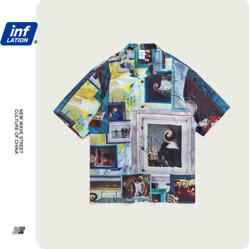 التضخم 2020 الصيف الرجال قميص قميص مطبوع الرجال قميص مطبوع الرقمية الرجال قصيرة الأكمام قمصان غير رسمية 2025S20