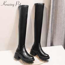 Stretch-Boots Krazing-Pot Cow-Leathe Thigh Winter Women Solid L10 Round-Toe Simple-Style