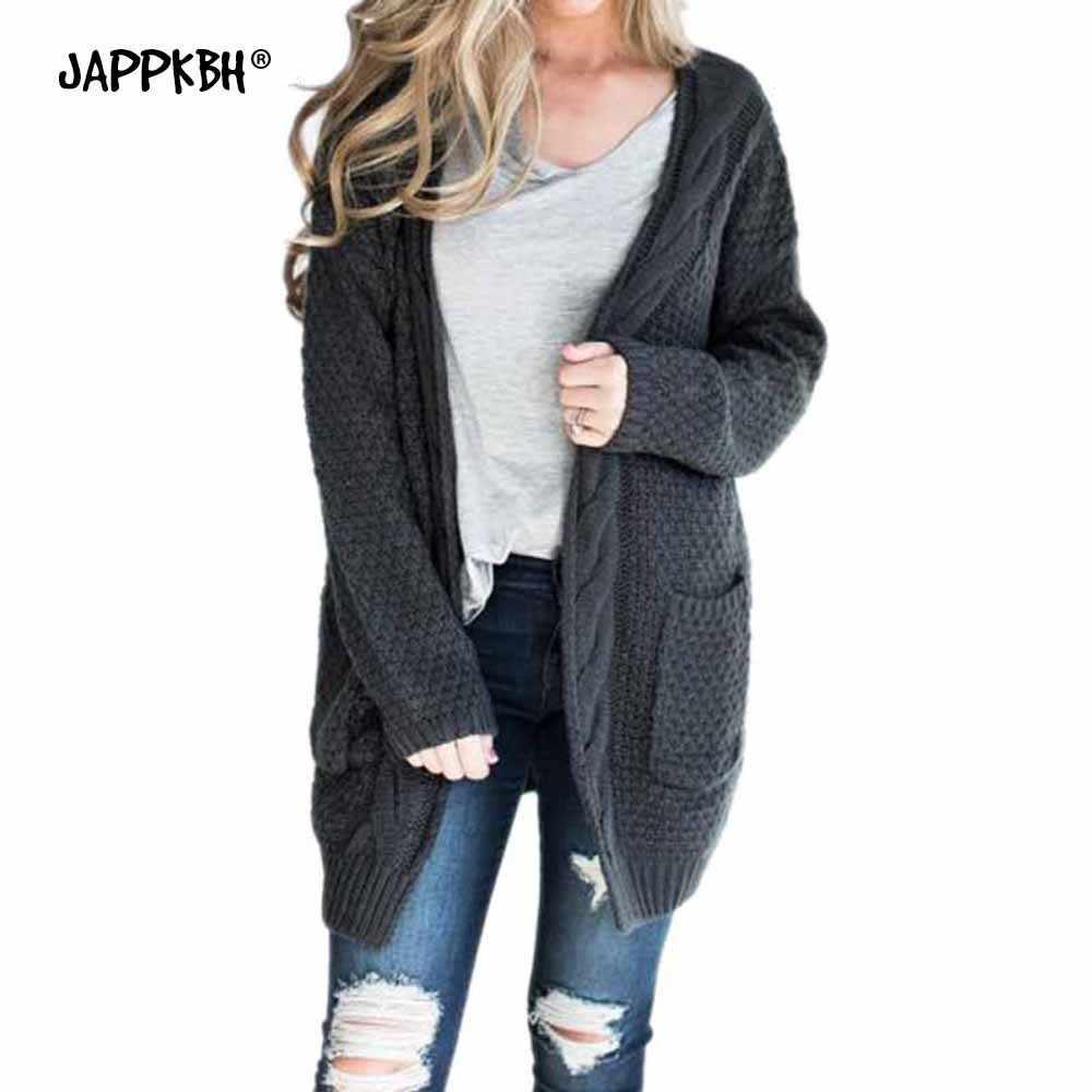 Повседневные трикотажные кардиганы размера плюс, женские теплые осенне-зимние пальто 2019, женские свитера с длинным рукавом и открытой строчкой