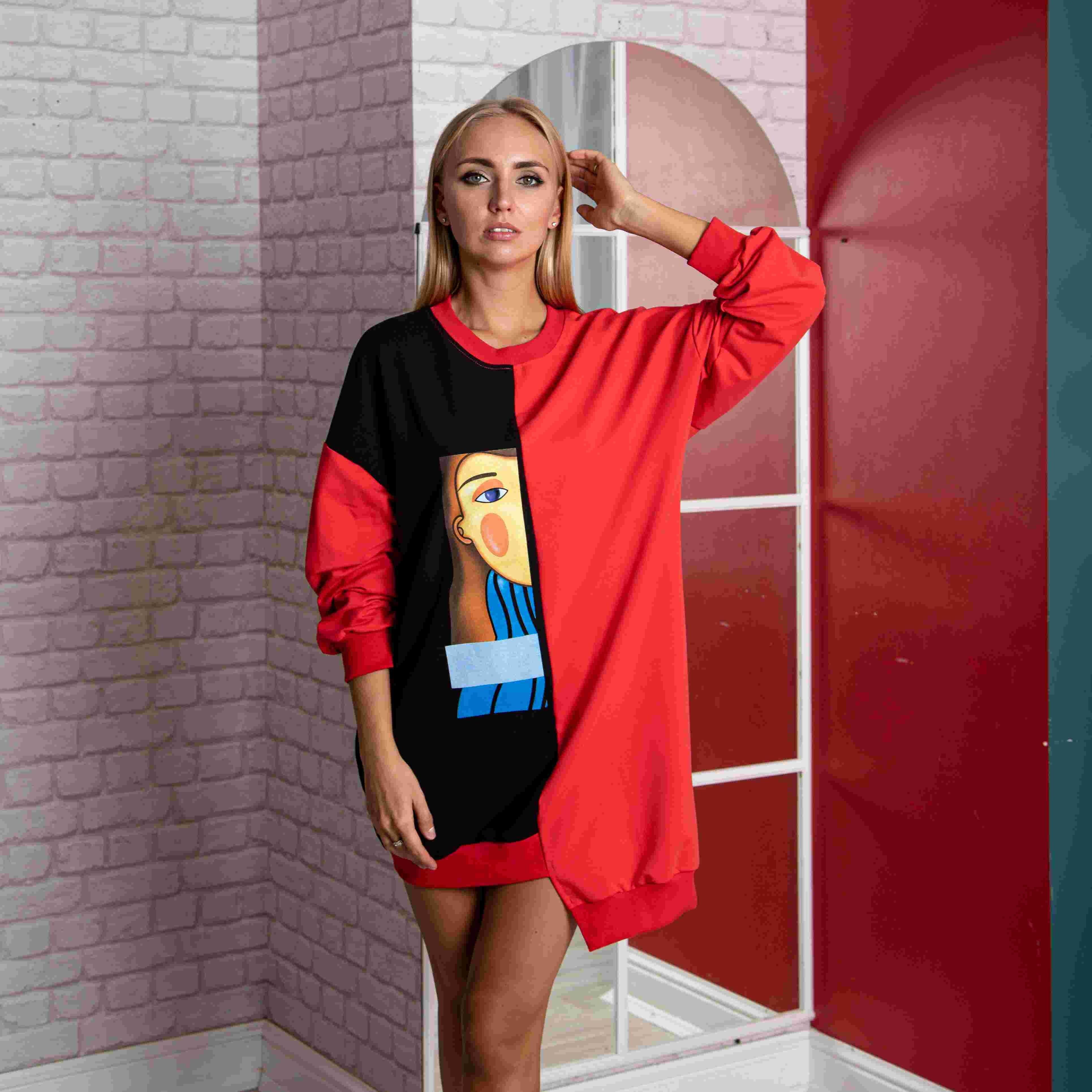 Atoff Home Dress P 735 (black + Red)