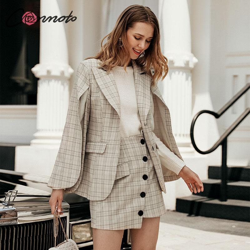 Conmoto Fall 2019 Women Fashion Blazer Skirt Suit Female Slit Sleeve Plaid Blazer Ladies High Waist Irregular skirts Set Dress