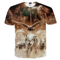 2019 mais novo harajuku impressão lobo 3d camiseta legal dos homens/mulheres de manga curta topos verão t camisa animal moda Tee