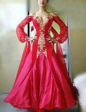 Kadın salıncak tango vals pürüzsüz abd 8 dans yarışması elbise derecelendirme balo salonu dans elbise uzun kollu balo salonu dans elbise