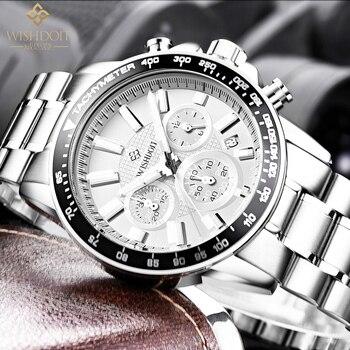 WISHDOIT Top Brand Luxury Men's Watch Waterproof Quartz Military Leisure Sports Chronograph Watch Steel Band Relogio Masculino 2