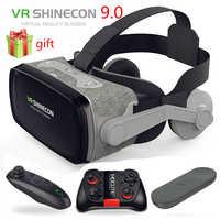 Quente! 2019 shinecon casque 9.0 vr óculos de realidade virtual óculos 3d google papelão vr caixa de fone de ouvido para 4.0-6.3 polegada smartphone