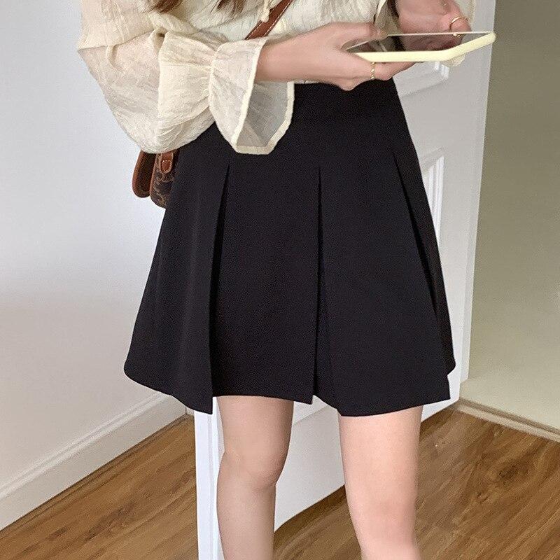 2021 Summer Women Black Pleated Skirt High Waist Slim A-Line Culottes Small Age-Reducing Sailor Japanese School Uniform Q79990