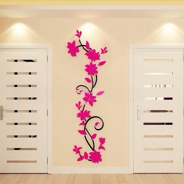 Pink purple red flower Tree Wall Stickers Decals Girls Women Flower Mural Vinyl Wallpaper Home Living Room Bedroom Decor 5