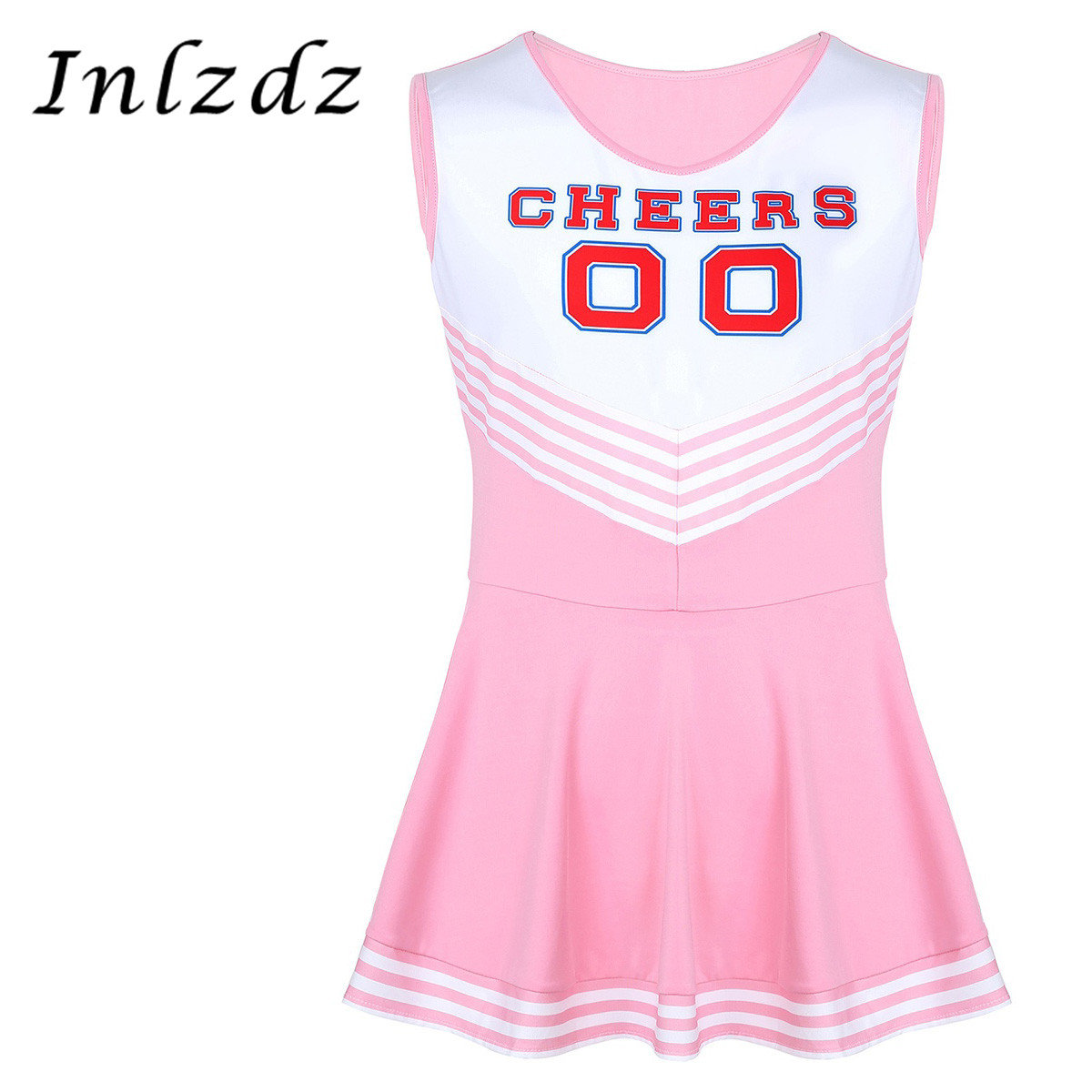 Mens Sissy Crossdresser Dress Scoop Neck Sleeveless Pleated Short Dress Charming Cheerleader Fancy Cosplay Costume Sex Dress