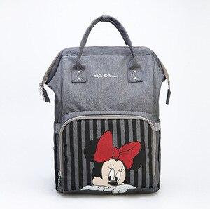 Image 1 - Disney bebê fralda mochila mães saco de enfermagem do bebê mãe maternidade fralda mudando saco viagem carrinho aquecimento usb mickey series