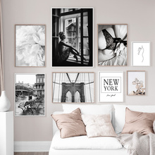 Black White Girl Flower Bridge Street Quotes Wall Art Canvas Painting Nordic Posters And Prints Wall Pictures For Living Room fashion perfume flower quotes wall art canvas painting nordic posters and prints wall pictures for living room girl salon decor