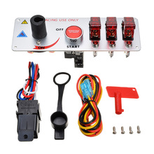 Mayitr 1 set Ignition Switch Panel DC 12V Racing Car LED Toggle Engine Start Push Button Accessory 30A one key engine start button switch set for auto refitting with red light dc 12v 30a