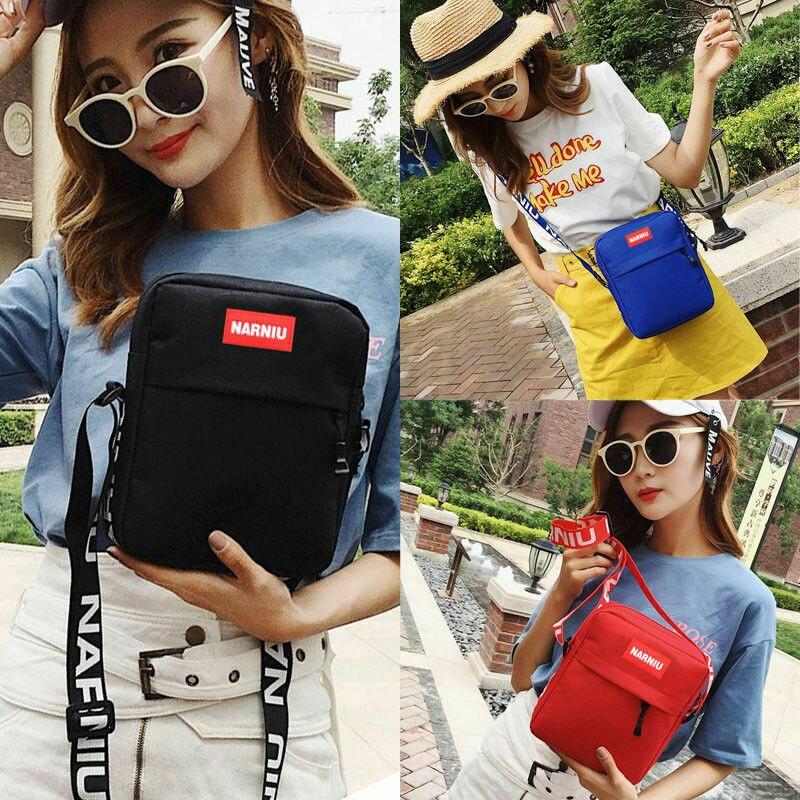 1PC Casual Women Men Shoulder Bag Pure Color Handbags Messenger Crossbody Sport Travel Hiking Satchel Wide Strap Handbags Letter