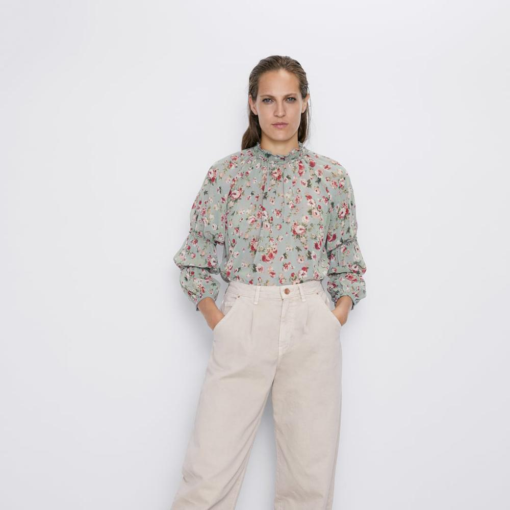 Za 2019 Print Shirt Womens Tops And Blouses Fashion Clothes Flower Printed Shirts Long Sleeve Blouse Streetwear