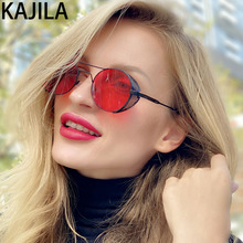 Round Steampunk Sunglasses Men New Arrival 2020 Retro Metal Frame Brand Designer Hollow Sun Glasses For Man Wholesale 1901