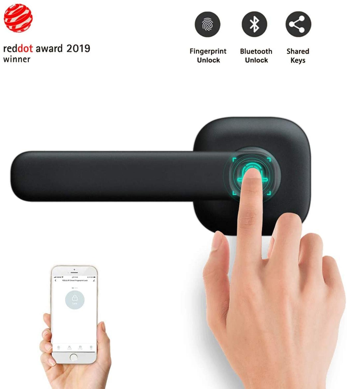 Smart Fingerprint Door Lock Bluetooth APP Unlock Keyless Entry Lock Works with iOS Android System image