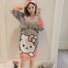Winter Women Sleepwear Suit Thick Warm Robes Coral Flannel nightgown Female Cartoon Animal Mujer