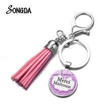 Porte-clés avec pompon pour femme, cadeau tendance, Merci Maitresse, nœud violet imprimé Photo, bonne qualité, joli sac