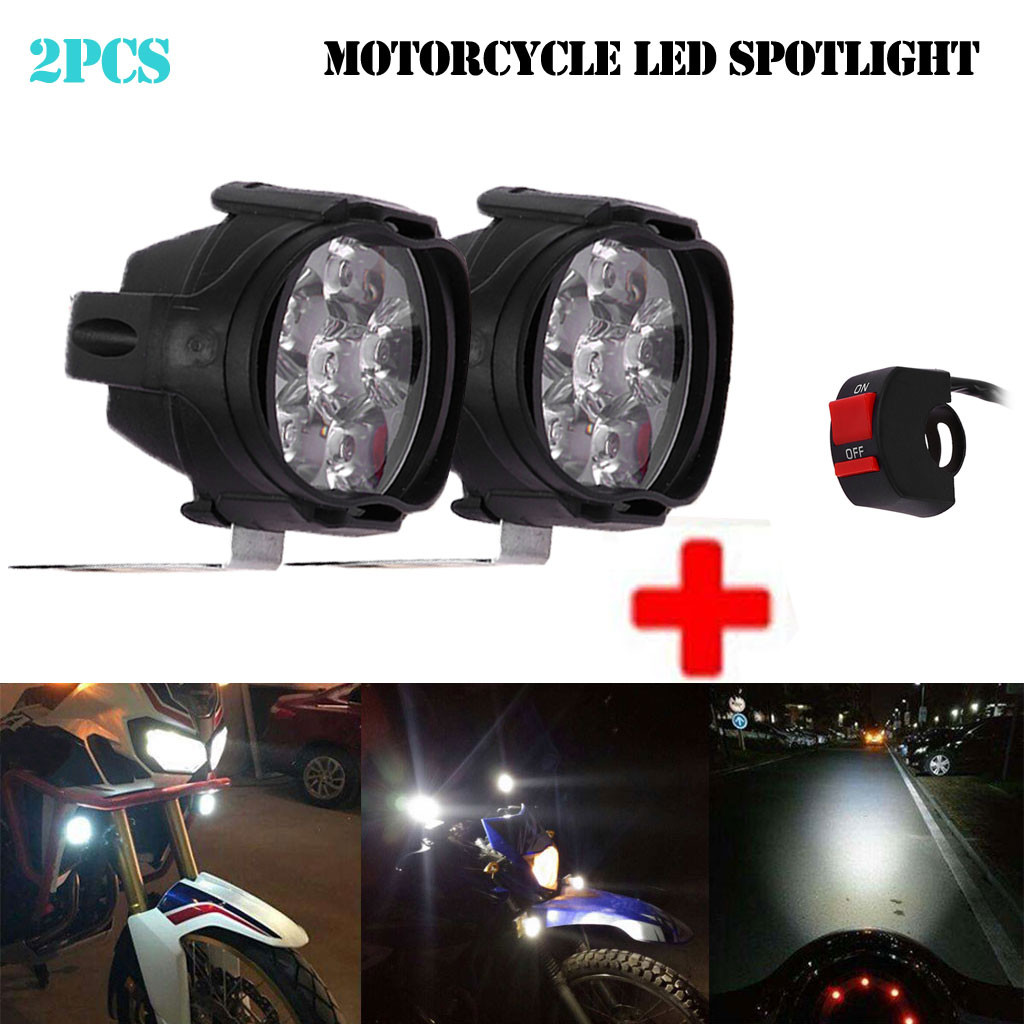 New 2Pcs 6 LED Motorcycle Headlight Fog Spotlight Driving Light Lamp With Switch For Motos ATVs UTVs Scooter Lightin 1000LM|  - title=