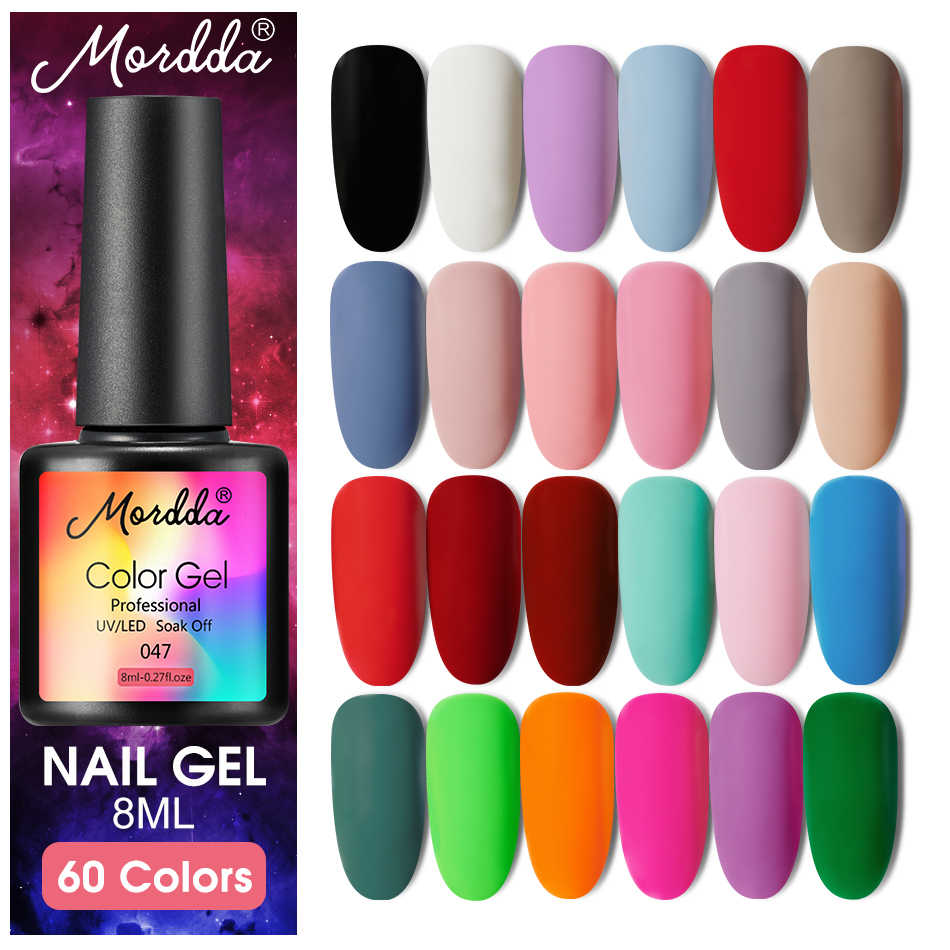Mordda 8 Ml Gel Polish UV LED Nail Varnish untuk Manikur 60 Warna Gel Lacquer Semi Permanen Gel Cat Kuku seni DIY Alat Desain