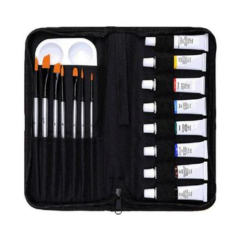 16pcs/set Professional Acrylic Paints Brush Palette Set Hand Painted Wall Paint Artist Draw Painting Pigment