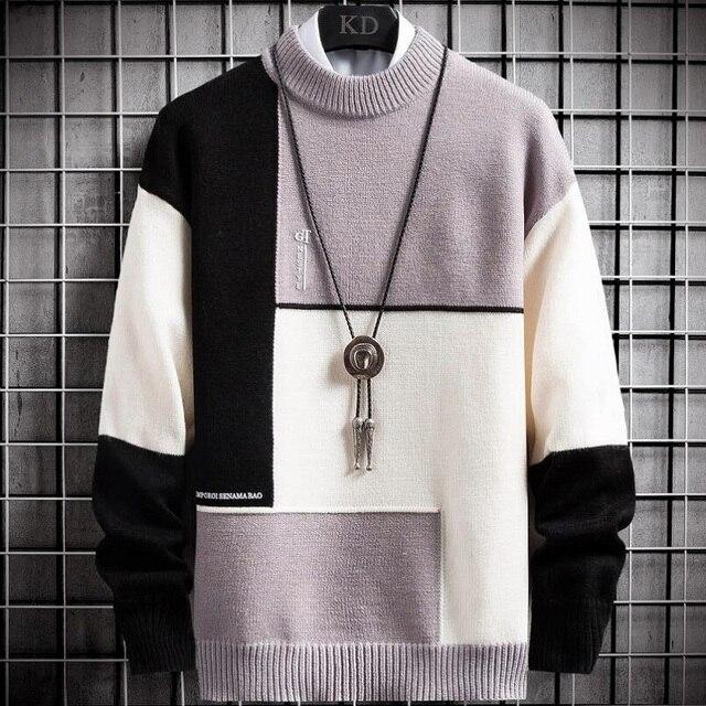 Suéter cálido de Cachemira para hombre, jersey de cuello alto, suéteres en forma de retales, Tops tejidos de Navidad, invierno, nuevo 3