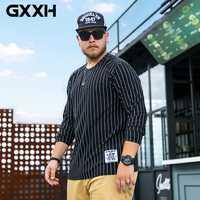 2020 otoño hombre de gran tamaño de manga larga de algodón camiseta Homme Casual Fat Guy suelta Vertical de rayas de gran tamaño hombres ropa XL-6XL