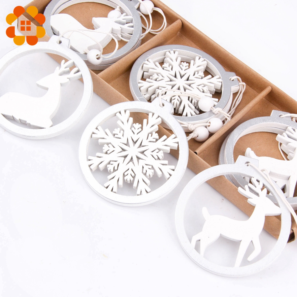 3PCS/lot Silver White Deer Snowflake Wooden Christmas Pendants Decorations DIY Wood Crafts XMAS Ornaments Festival Party Decor(China)