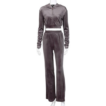 Dulzura Velvet Women 3 Piece Set Hoodie Sweatshirt Zipper Tube Crop Top High Waist Wide Leg Pants Tracksuit Sporty Casual Outfit 9