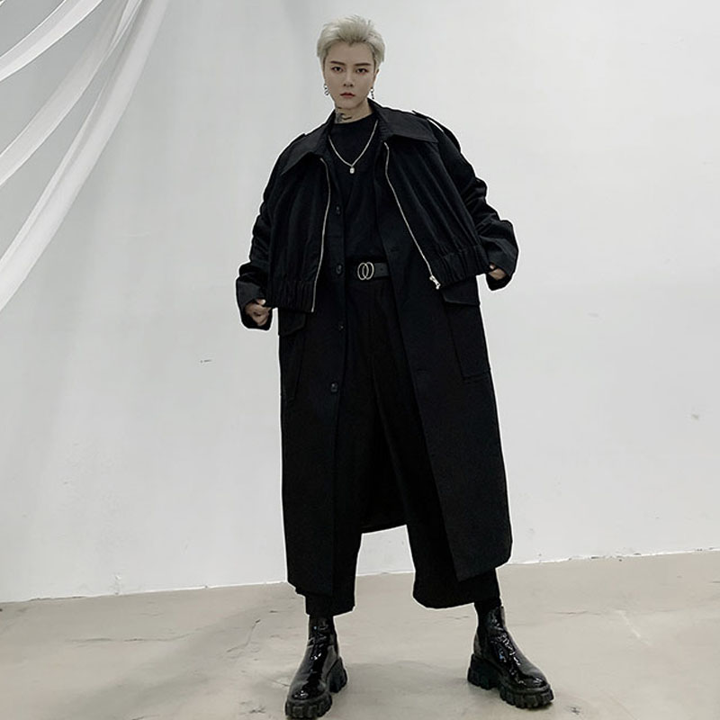 Men 2 Pieces Splice Long Trench Coat Outerwear Male Women Japan Street Hip Hop Punk Loose Jacket Windbreaker Overcoat