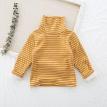 Children's T-shirt Girls Striped High Collar Bottoming Shirt Children's Flannel And Thickened Long Sleeves pink tiered flounced details crossed front cold shoulder long sleeves t shirt