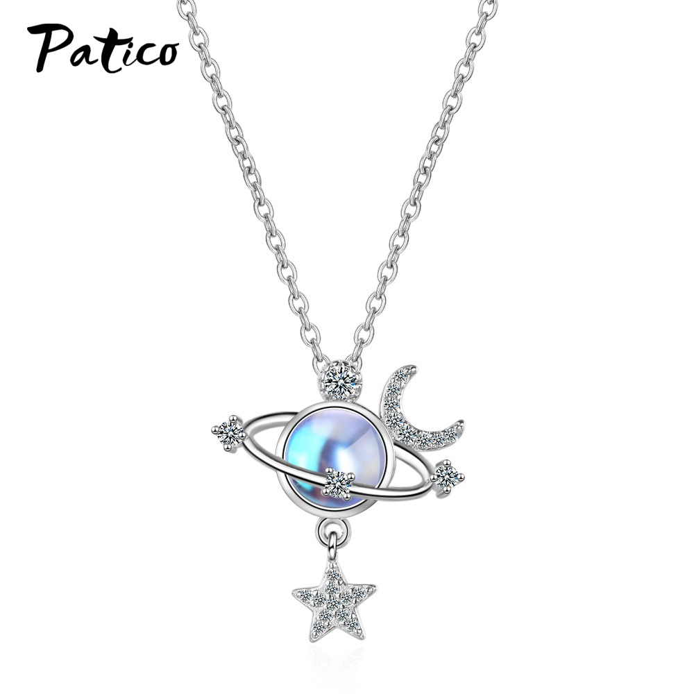 Exquisite Genuine S925 Sterling Silver Necklaces Fine Jewelry Charm Star Moon Choker Pendant Lady Wedding Party Jewelry Gift