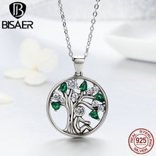 Popular Authentic 925 Sterling Silver CZ Relying Tree of Life Pendant Necklaces For Women Fine Jewelry Brincos Gift GXN094 eudora 925 sterling silver tree of life necklace cloud tree pendant fortitude design jewelry for women happy birthday gift d449