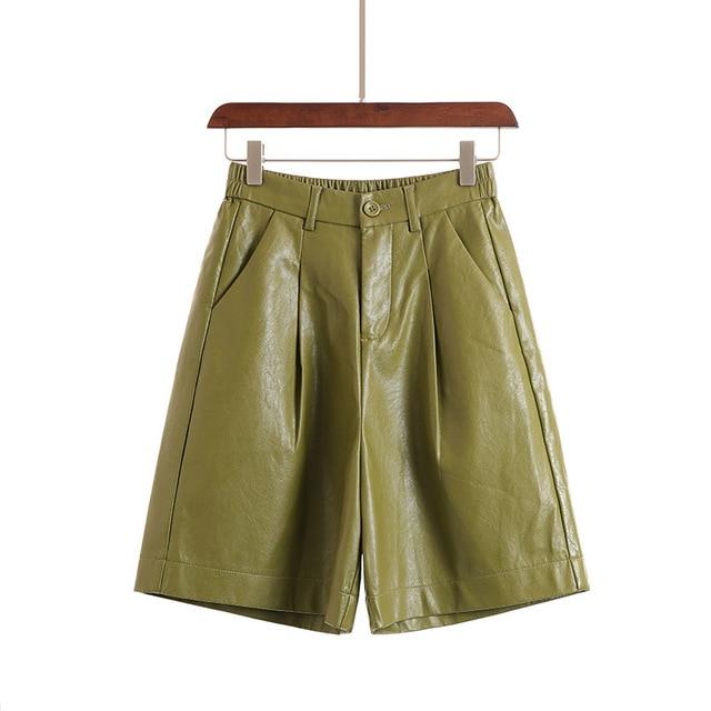 S-3XL Fashion PU Leather Shorts Women's Autumn Winter Bermuda Elastic Waist Loose Five Points Leather Trouser Plus Size Shorts 3