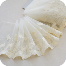 Leaf mesh embroidered cotton Lace Edge Fabric Trim clothing skirt designer doll Accessories Handmade DIY Decoration scallop edge sheer embroidered mesh longline kimono