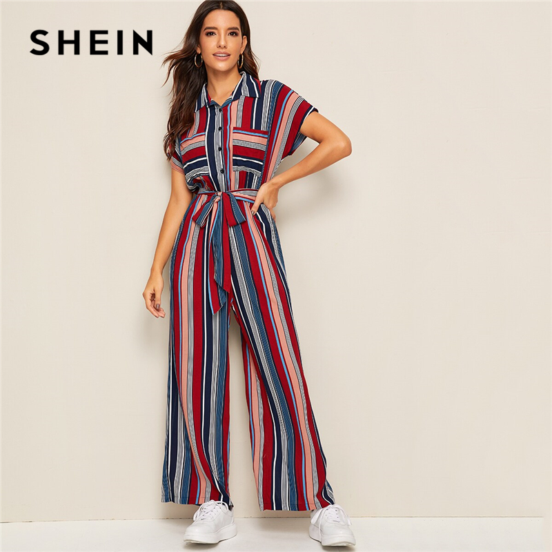 SHEIN Double Pocket Belted Striped Casual Shirt   Jumpsuit   Women Autumn Batwing Sleeve Button Front Wide Leg Ladies   Jumpsuits