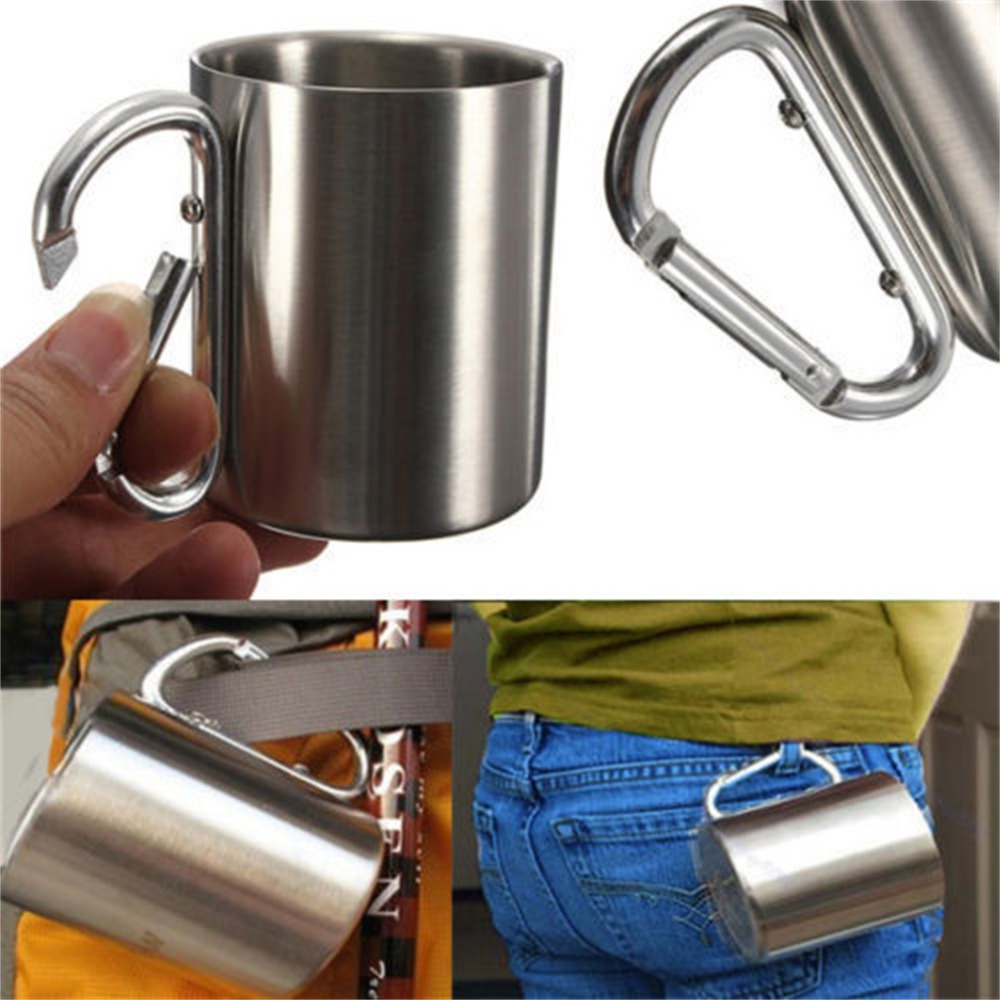 Outdoor Buckle Stainless Steel Water Tea Coffee Mug Self Lock Carabiner Handle Cup For Camping Hiking Climbing Portable