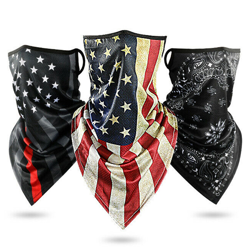 Triangle Bandana Face Scarves Hanging Ear Tube Scarf Ice Silk Neck Gaiter Cover Smooth Breathable Headband Men Women