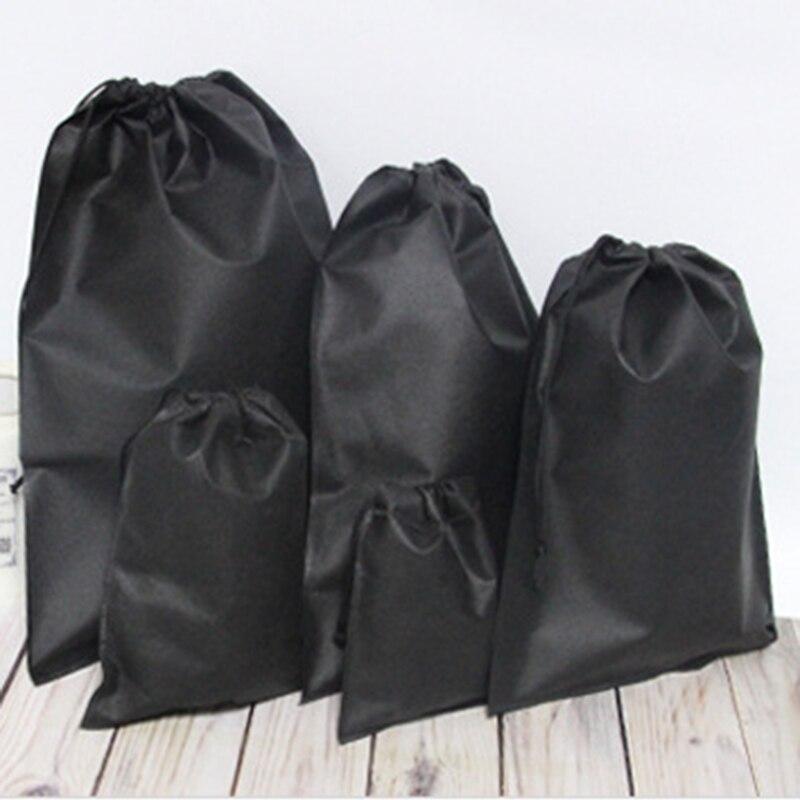 Drawstring Bags Home Laundry Shoe Travel Portable Pouch Drawstring Tote Bag Organizer Black/White Simple Non-woven Bag