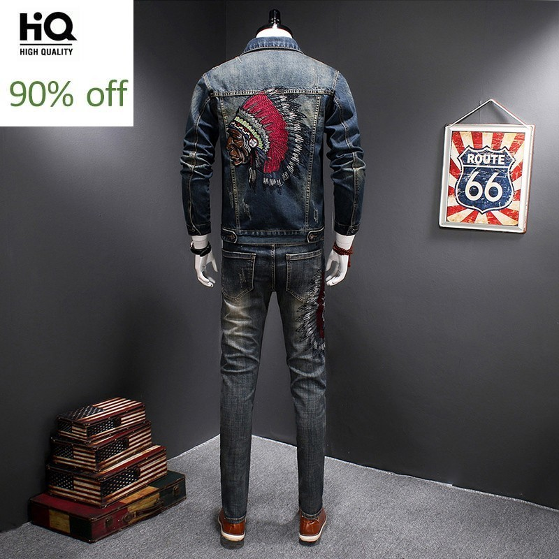 Top Quality Fashion Casual Mens Two Piece Outfits Embrodidery Vintage Jeans Coat Hole Ripped Slim Fit Full Length Denim Pants