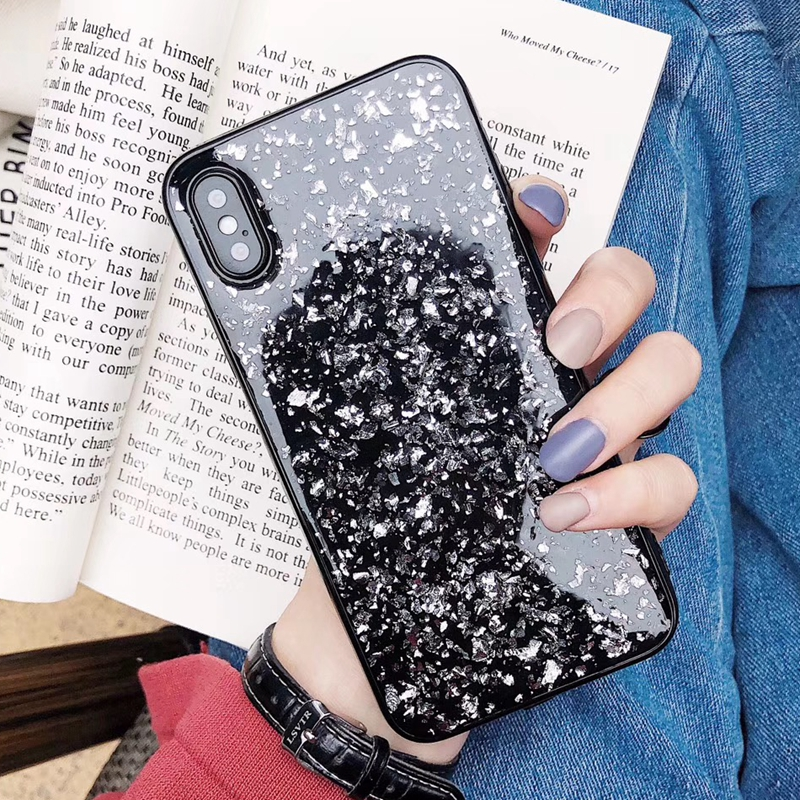 Black Soft Case For Iphone X XR XS MAX 10  7 8 6 6s Plus Gold Foil Silicone TPU Fashion DropProof Protective Back Shell Cover